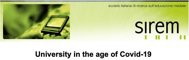 """[GLOBAL CREMIT] """"University in the age of Covid-19"""" a Webinar organized by the Italian Society of Media Education Research (SIREM)"""